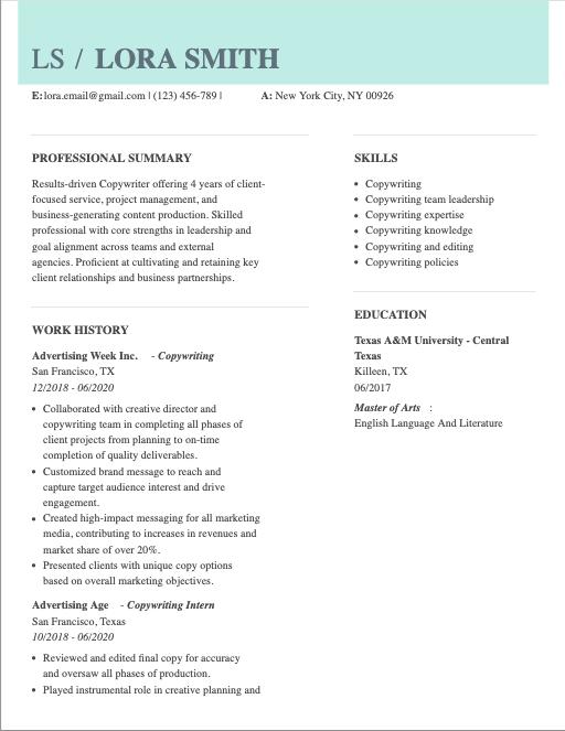 freelance copywriter resume