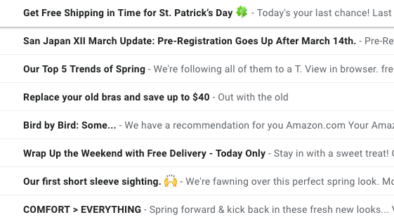 sample subject lines