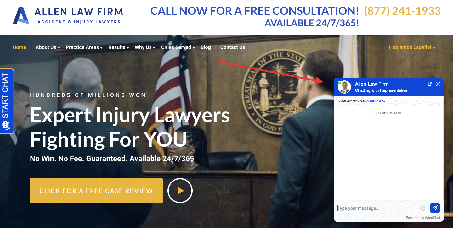 Allen Law Firm homepage