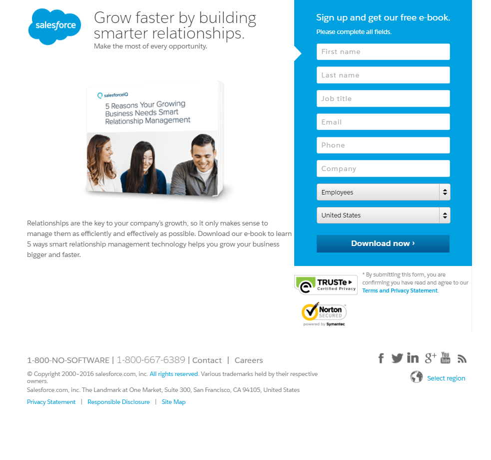 sample of page where contact information is displayed