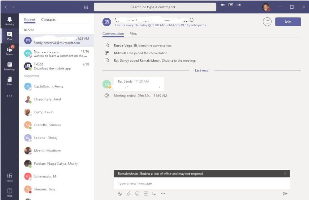 Microsoft Teams UI