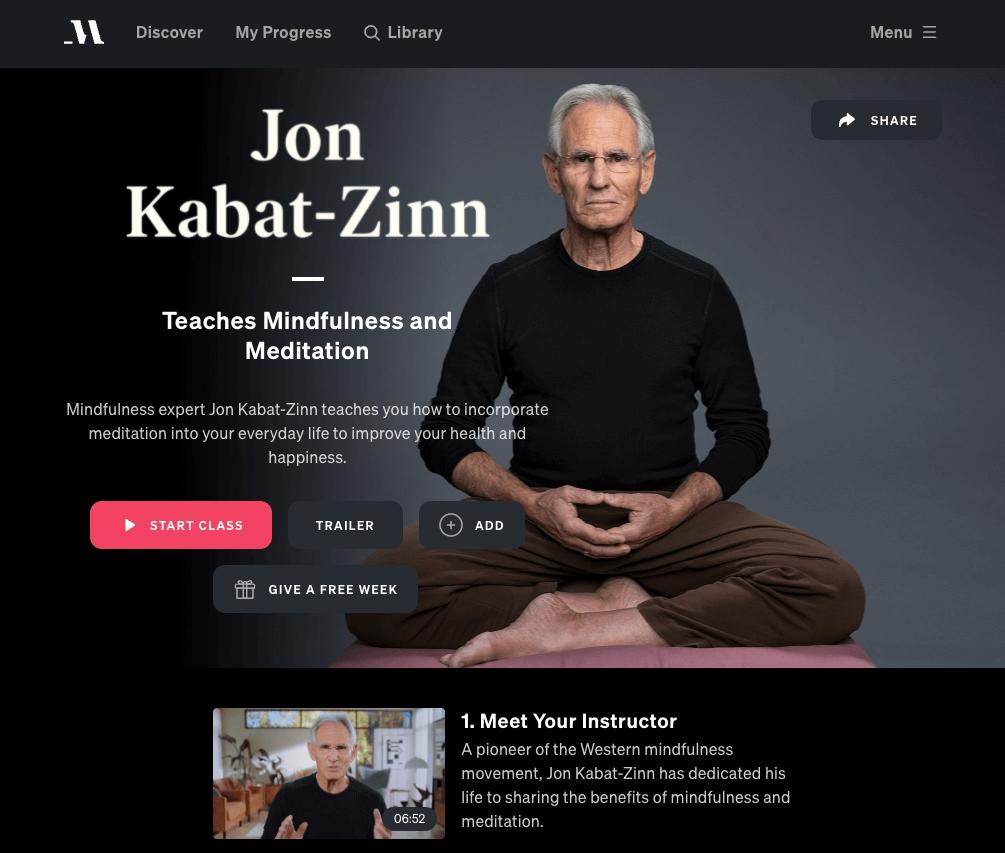Jon Kabat-Zinn masterclass review
