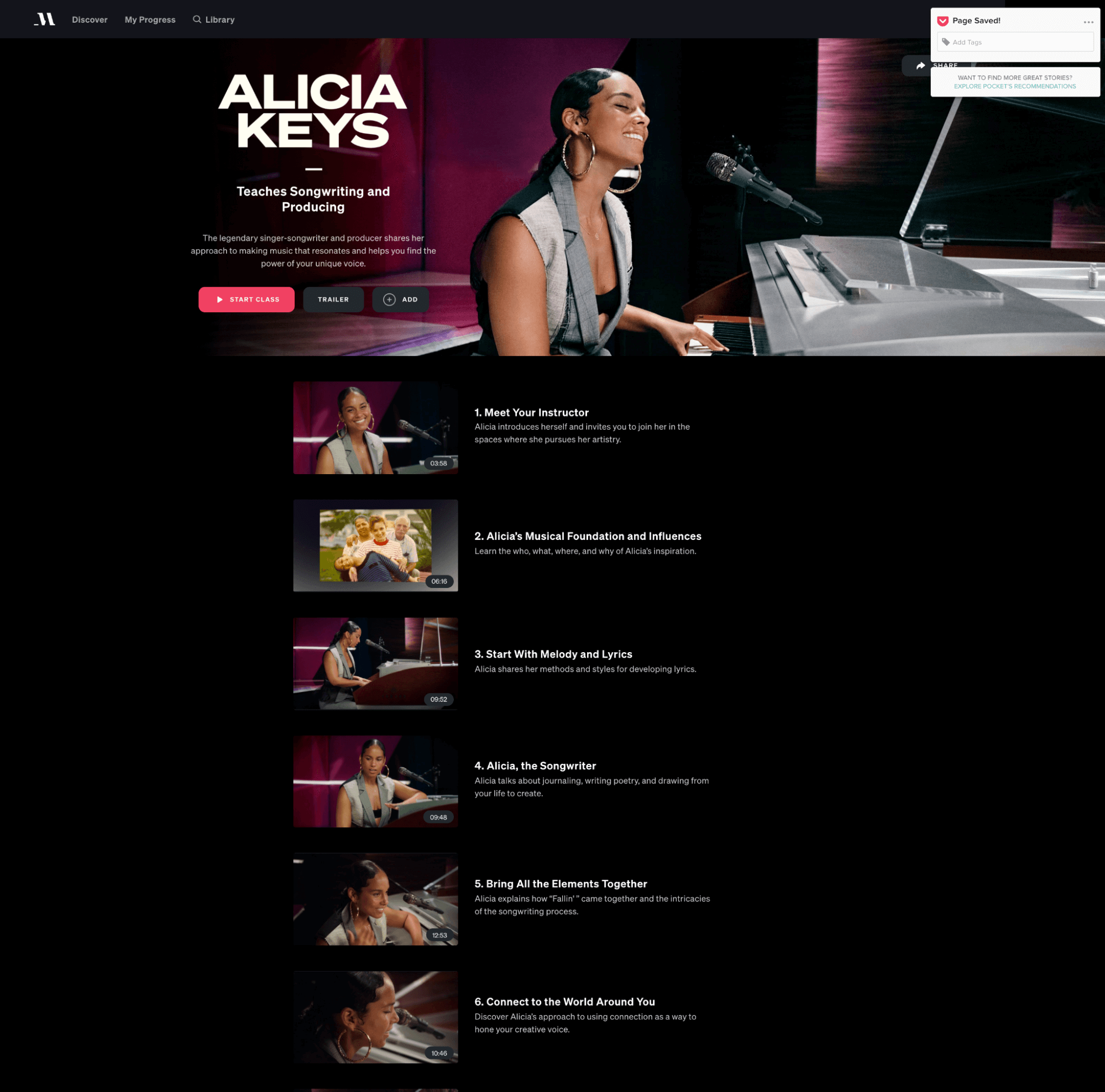 alicia keys masterclass