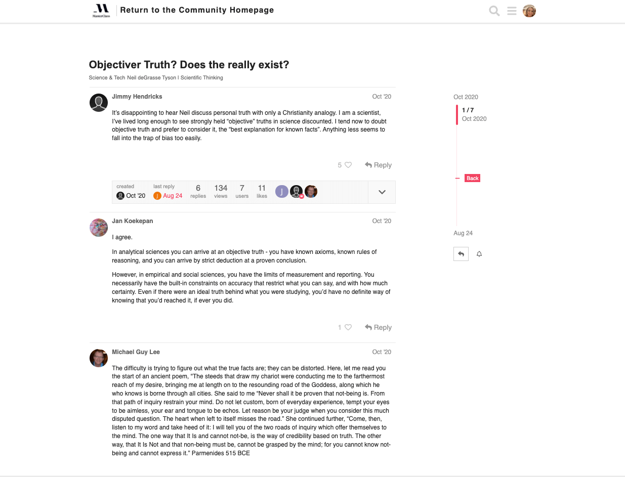 masterclass discussion forum thread review