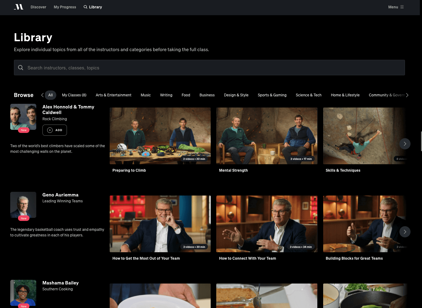 masterclass review search library