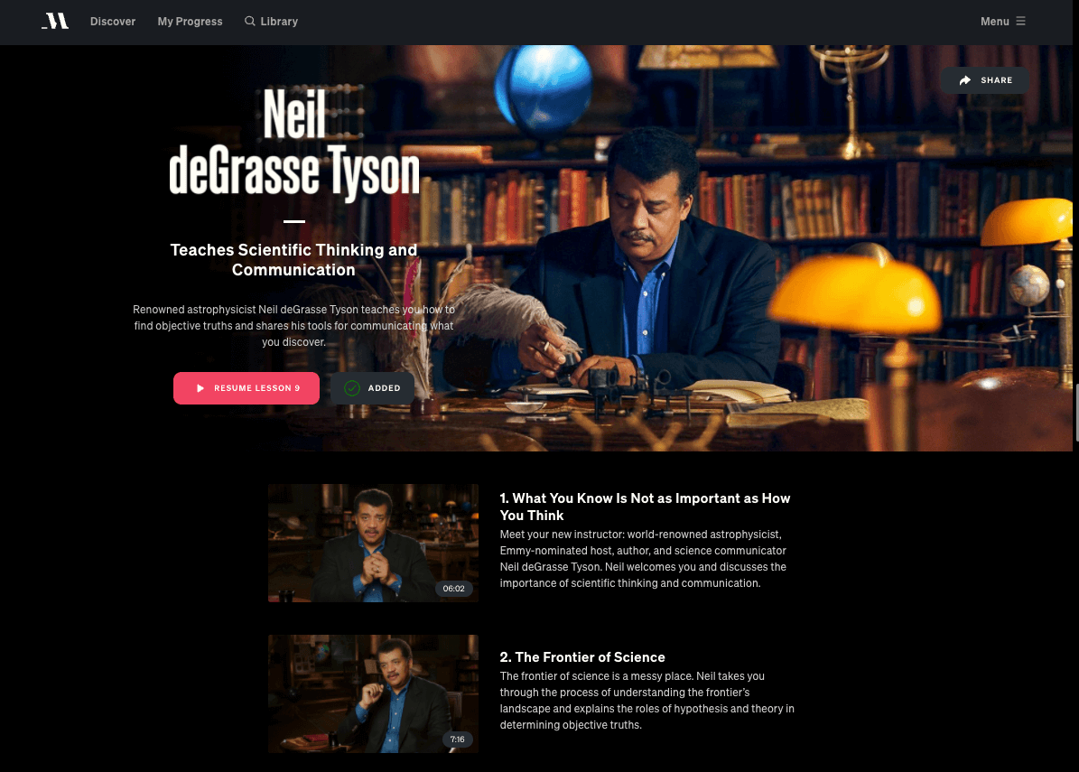 masterclass review neil degrasse tyson course page