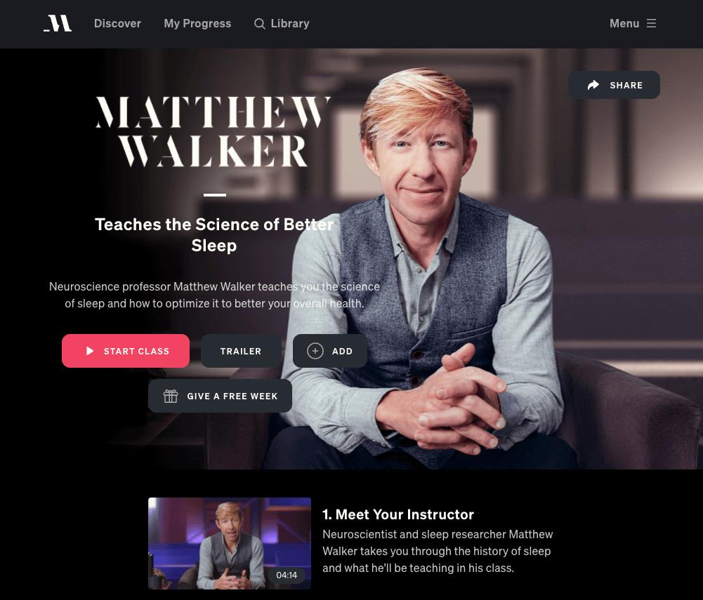 matthew walker masterclass review