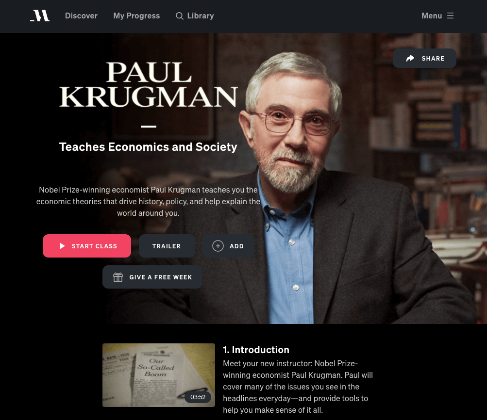 paul krugman masterclass review